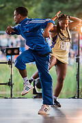 Boy Blue Entertainment perform The Get Down for Sadlers Wells on the Waterfront Stage - The 2017 Latitude Festival, Henham Park. Suffolk 13 July 2017