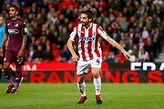 Stoke City midfielder Joe Allen (4) asks for the ball during the EFL Sky Bet Championship match between Stoke City and Swansea City at the Bet365 Stadium, Stoke-on-Trent, England on 18 September 2018.