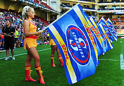 Cape Town 180217-Stomers  cheer ladies with their flags before the Super rugby  15 at Newlands.Photograph:Phando Jikelo/African News Agency/ANA