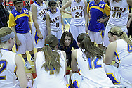 Benton Community head coach Laurie Donald talks with her team before their Rivalry Saturday game at Washington High School at 2205 Forest Drive SE in Cedar Rapids on Saturday, January 21, 2012. (Stephen Mally/Freelance)