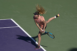 March 22, 2018 - Miami, FL, United States - Miami, FL - March, 22: Oceane Dodin (FRA) in action here loses 63 36 57 to Simona Halep (ROU) at the 2017 Miami Open held at the Tennis Center at Crandon Park.   Credit: Andrew Patron/Zuma Wire (Credit Image: © Andrew Patron via ZUMA Wire)