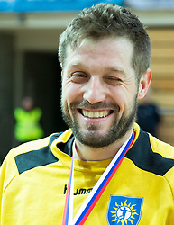 Uros Rapotec of RD Koper 2013 celebrates after winning during handball match between RK Koper 2013 and RK Dol TKI Hrastnik for 3rd place of Slovenian Handball Cup 2015, on March 29, 2015 in Arena Bonifika, Koper, Slovenia. Photo by Vid Ponikvar / Sportida