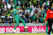 Mohammad Amir celebrates as the England wickets tumble during the International T20 match between England and Pakistan at the Emirates, Old Trafford, Manchester, United Kingdom on 7 September 2016. Photo by Craig Galloway.