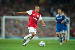 LONDON, ENGLAND - WEDNESDAY, SEPTEMBER 28, 2011: Arsenal's Alex Oxlade-Chamberlain in action against Olympiacos during the UEFA Champions League Group F match at the Emirates Stadium. (Photo by Chris Brunskill/Propaganda)