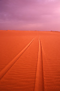 Tire tracks in the Sahara Desert Mauritania Africa
