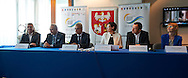(L-R) Jacek Wszola Olympic Champion from Montreal 1976 and Andrzej Krasnicki president of Polish Olympic Committee and Andrzej Biernat Minister of Sport Deaprtament and Anna Wasilewska member of board of Warmia Mazury Region  and Tomasz Sokolowski former soccer player during press conference at Polish Olympic Committee in Warsaw, Poland.<br /> <br /> Poland, Warsaw, August 27, 2014<br /> <br /> Picture also available in RAW (NEF) or TIFF format on special request.<br /> <br /> For editorial use only. Any commercial or promotional use requires permission.<br /> <br /> Photo by © Adam Nurkiewicz / Mediasport