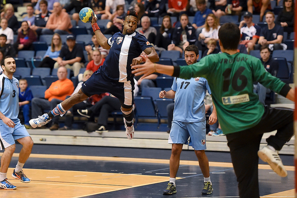 Team USA's Gary Hines jumps to shoot the ball during a friendly match against Uruguay. <br /> USA Team Handball vs. Uruguay in Auburn, Ala., U.S.A. on Saturday, March 7, 2015. <br /> Zach Bland Photo