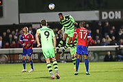 Forest Green Rovers Ethan Pinnock(16) heads the ball clear during the Vanarama National League first leg play off match between Dagenham and Redbridge and Forest Green Rovers at the London Borough of Barking and Dagenham Stadium, London, England on 4 May 2017. Photo by Shane Healey.
