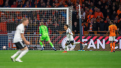 24-03-2019 NED: UEFA Euro 2020 qualification Netherlands - Germany, Amsterdam<br /> Netherlands lost the match 3-2 in the last minute / Nico Schultz #14 of Germany scores 3-2 in the last minute. (L-R) Nico Schultz #14 of Germany, Virgil van Dijk #4 of The Netherlands, Leroy Sane #19 of Germany, Daley Blind #17 of The Netherlands, goalkeeper Jasper Cillessen #1 of The Netherlands