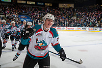 KELOWNA, CANADA - APRIL 30: Nolan Foote #29 of the Kelowna Rockets celebrates the opening goal of the first period against the Seattle Thunderbirds on April 30, 2017 at Prospera Place in Kelowna, British Columbia, Canada.  (Photo by Marissa Baecker/Shoot the Breeze)  *** Local Caption ***