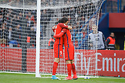 Edinson Roberto Paulo Cavani Gomez (psg) (El Matador) (El Botija) (Florestan) scored a goal from the ball of Goncalo Guedes (PSG) and celebrated with him during the French championship Ligue 1 football match between Paris Saint-Germain (PSG) and Bastia on May 6, 2017 at Parc des Princes Stadium in Paris, France - Photo Stephane Allaman / ProSportsImages / DPPI