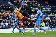 Curtis Main (#9) of Motherwell attempts to connect with a header in the penalty area during the William Hill Scottish Cup Semi-Final match between Motherwell and Aberdeen at Hampden Park, Glasgow, United Kingdom on 14 April 2018. Picture by Craig Doyle.
