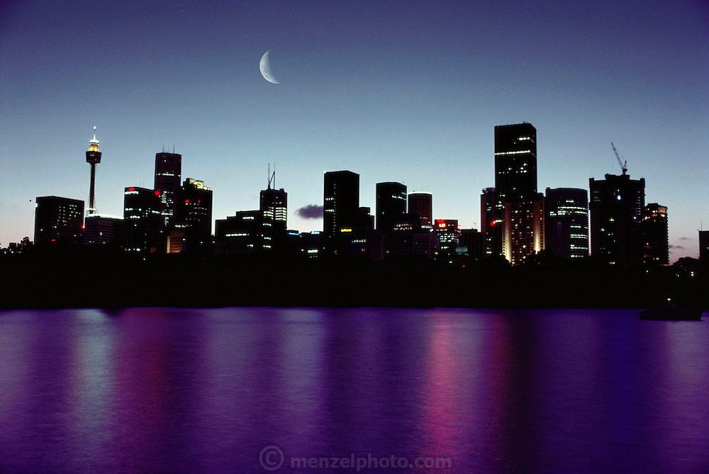 Sydney and Sydney Harbor at dusk.  Sydney, Australia.