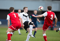 Edinburgh City's Mark McDonnell and Brora Rangers Martin McLean and Scott Houston.<br /> Edinburgh City 1 v 1 Brora Rangers, 1st leg, Pyramid Playoffs at Meadowbank, 25/4/2015.