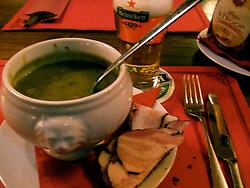 Dutch Dinner - Pea soup katenspek (cat bacon?) on black bread and a Heineken