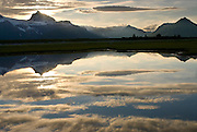Mountains and Reflection in a small pond , Hallo Bay, Katmai National Park,<br />
