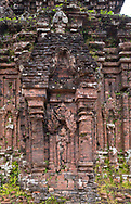 A close-up of carved reliefs on Monument B5 at the Cham Temple ruins at the My Son Sanctuary, Quang Nam Province, Vietnam, Southeast Asia