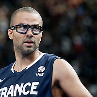 15 July 2012: Tony Parker of Team France is seen during a pre-Olympic exhibition game won 75-70 by Spain over France, at the Palais Omnisports de Paris Bercy, in Paris, France.