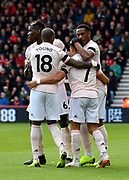 Goal - Anthony Martial (11) of Manchester United celebrates scoring the equalising goal to make the score 1-1 during the Premier League match between Bournemouth and Manchester United at the Vitality Stadium, Bournemouth, England on 3 November 2018.