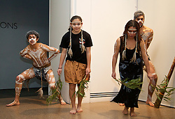ADELAIDE, AUSTRALIA - Sunday, July 19, 2015: Liverpool receive a 'Welcome to Country' from Aboriginal dancers during a visit to the Art Gallery of South Australia ahead of a preseason friendly match against Adelaide United on day seven of the club's preseason tour. (Pic by David Rawcliffe/Propaganda)