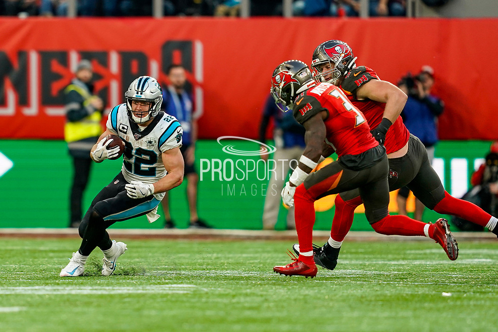 Carolina Panthers Running Back Christian McCaffrey (22) in action during the International Series match between Tampa Bay Buccaneers and Carolina Panthers at Tottenham Hotspur Stadium, London, United Kingdom on 13 October 2019.