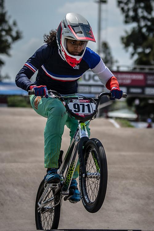 2018 UCI BMX Supercross<br /> Round 7 Santiago Del Estero (Argentina)<br /> Elite Women<br /> Practice<br /> #971 (VALENTINO Manon) FRA
