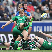 Scott Steele, London Irish, clears with a kick during the London Irish Vs Saracens Aviva Premiership Rugby match, the first Premiership game to be played overseas at Red Bull Arena, Harrison, New Jersey. USA. 12th March 2016. Photo Tim Clayton