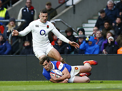 February 10, 2019 - London, England, United Kingdom - Damian Penaud of France..during the Guiness 6 Nations Rugby match between England and France at Twickenham  Stadium on February 10th, 2019 in Twickenham, London,  England. (Credit Image: © Action Foto Sport/NurPhoto via ZUMA Press)