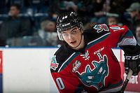 KELOWNA, CANADA - DECEMBER 7: Nick Merkley #10 of the Kelowna Rockets warms up against the Seattle Thunderbirds on December 7, 2016 at Prospera Place in Kelowna, British Columbia, Canada.  (Photo by Marissa Baecker/Shoot the Breeze)  *** Local Caption ***