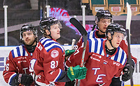 2020-01-19 | Umeå, Sweden:Teg (27) Robin Johansson score 1-0 after 43 sec. in AllEttan during the game  between Teg and Vallentuna at A3 Arena ( Photo by: Michael Lundström | Swe Press Photo )<br /> <br /> Keywords: Umeå, Hockey, AllEttan, A3 Arena, Teg, Vallentuna, mltv200119, happy happiness celebration celebrates