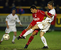 Fotball: Liverpool Milan Baros makes his debut challenging with Leeds Shane Cansdell-Sherriff during the Reserve match at Haigh Avenue, Southport. 150102<br />