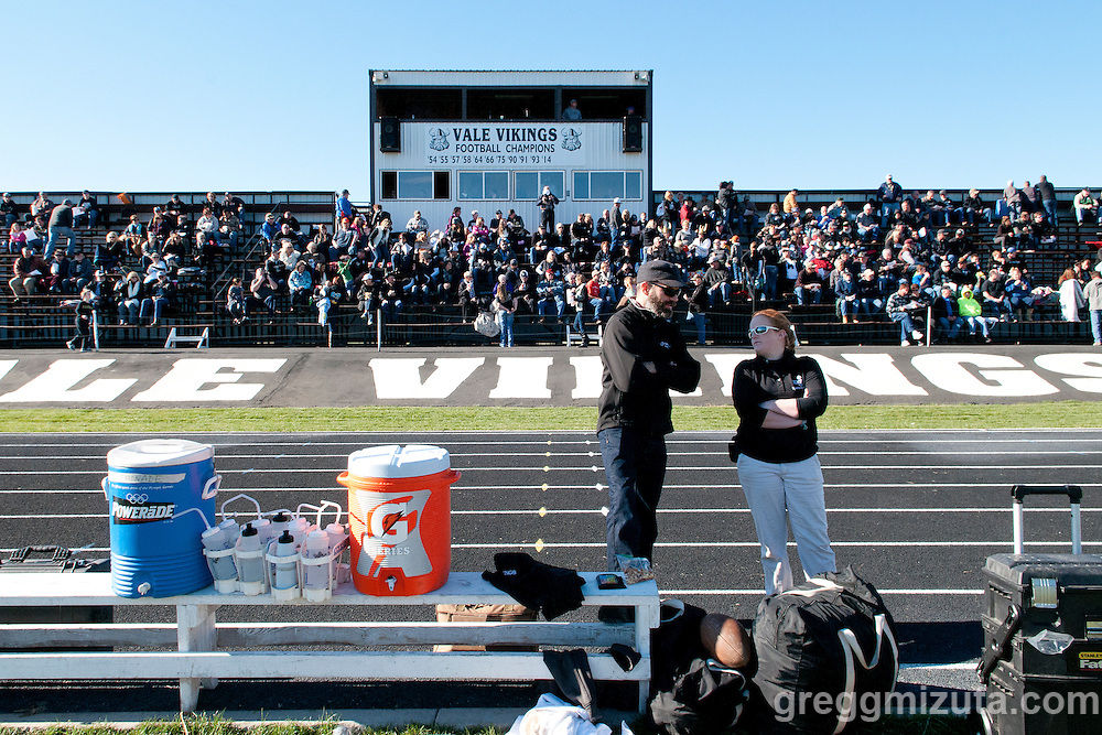 Vale trainer Jennalee Ryan at the Vale - Cascade Christian 3A quarterfinal playoff game at Frank Hawley Stadium, Vale, Oregon, Saturday, November 14, 2015. Vale won 48-38.