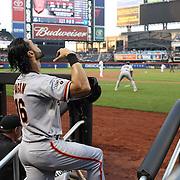 Angel Pagan, San Francisco Giants, preparing to bat during the New York Mets Vs San Francisco Giants MLB regular season baseball game at Citi Field, Queens, New York. USA. 11th June 2015. Photo Tim Clayton