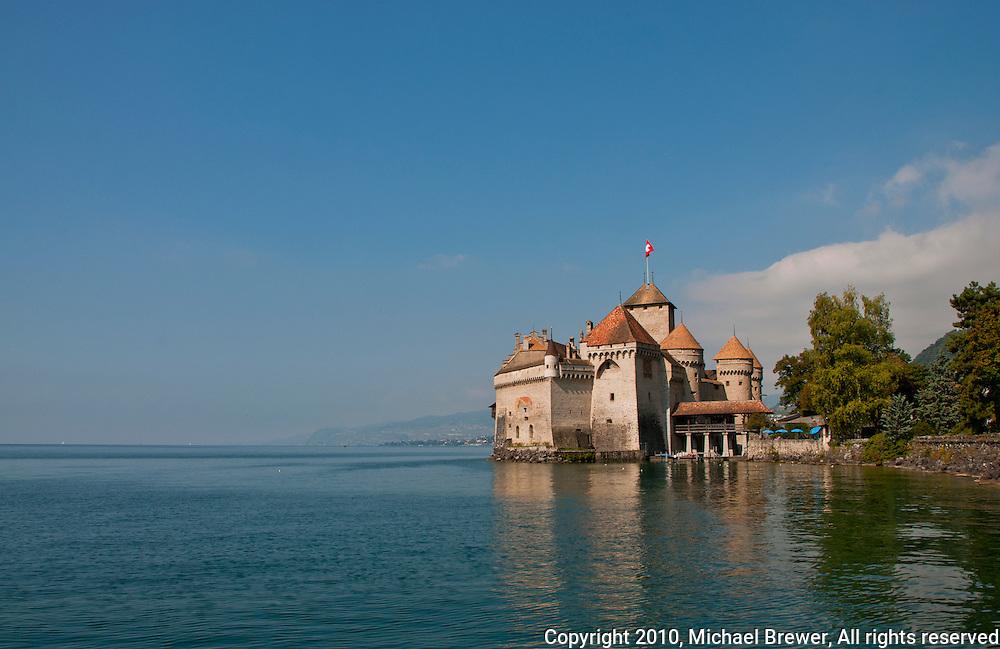 The medieval castle of Chillon on Lake Geneva, Switzerland.