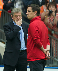 LONDON, ENGLAND - Saturday, June 2, 2012: England's head coach Roy Hodgson and Gary Neville against Belgium during the International Friendly match at Wembley. (Pic by David Rawcliffe/Propaganda)