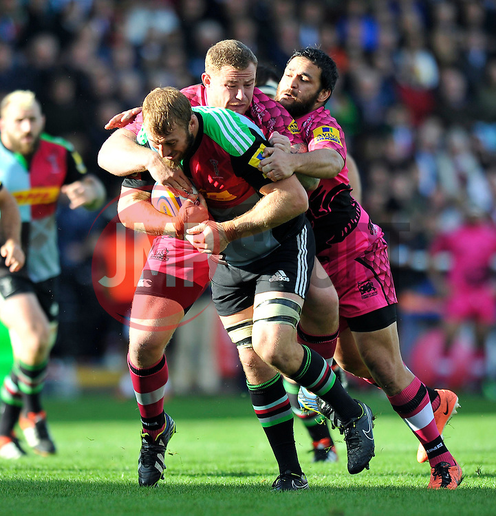 Chris Robshaw of Harlequins takes on the London Welsh defence - Photo mandatory by-line: Patrick Khachfe/JMP - Mobile: 07966 386802 04/10/2014 - SPORT - RUGBY UNION - London - The Twickenham Stoop - Harlequins v London Welsh - Aviva Premiership