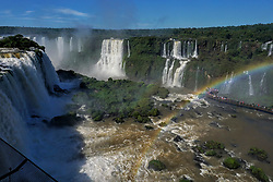 November 11, 2018 - Foz Do IguaçU, Brazil - FOZ DO IGUAÇU, PR - 11.11.2018: DAY 2018 FALLS - The Iguaçu National Park celebrates this Sunday, November 11, the international action of #Cataratas Day, which celebrates the election of Iguazu Falls, a natural world attraction, shared by Brazil and Argentina, as one of the 7 World Wonders of Nature. (Credit Image: © Christian Rizzi/Fotoarena via ZUMA Press)