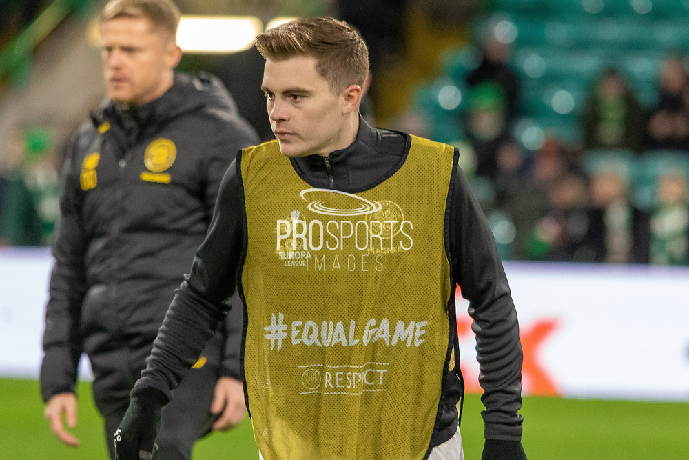 James Forrest (#49) of Celtic warming up ahead of the Europa League match between Celtic and Rennes at Celtic Park, Glasgow, Scotland on 28 November 2019.