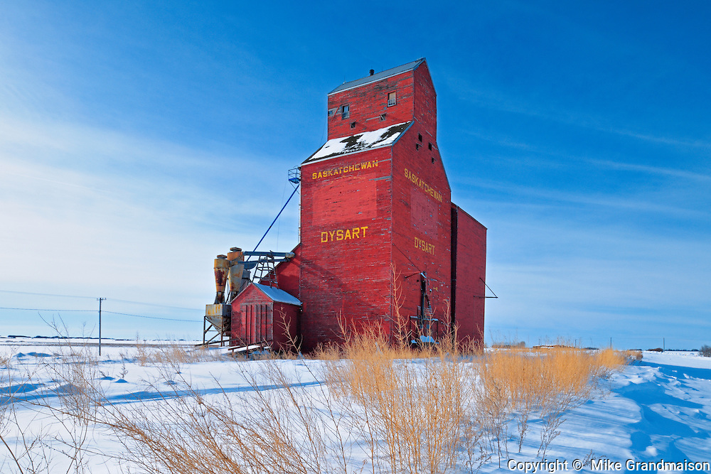 Red grain elevator in winter<br /> Dysart<br /> Saskatchewan<br /> Canada