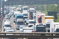 &copy; Licensed to London News Pictures. 18/04/2019.<br /> Dartford,UK. The Easter getaway traffic has started today with families setting out for a bank holiday weekend break. Very heavy traffic anti-clockwise causing miles of queues on the A282 Dartford crossing approach in Kent. Photo credit: Grant Falvey/LNP