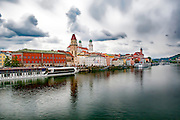 Cityscape of Passau, Bavaria, Germany. The Danube river in the foreground