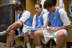 22 March 2008: North Carolina Tar Heels defenseman Michael Jarvis (8), attackman Kevin Federico (3) and midfielder Sean Burke (42) in the locker room before playing the Maryland Terrapins at Fetzer Field in Chapel Hill, NC.