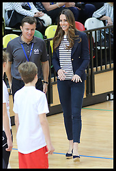 The Duchess of Cambridge at a SportsAid Athlete Workshop at the Copper Box, in the Queen Elizabeth Olympic Park in London,  Friday, 18th October 2013. Picture by Stephen Lock / i-Images