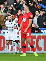 Football - 2019 / 2020 Sky Bet (EFL) Championship - Swansea City vs. Wigan Athletic<br /> <br /> Rhian Brewster of Swansea City celebrates scoring his team's first goal, at the Liberty Stadium.<br /> <br /> COLORSPORT/WINSTON BYNORTH