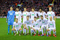 LIVERPOOL, ENGLAND - Thursday, February 25, 2016: FC Augsburg players line up for a team group photograph before the UEFA Europa League Round of 32 1st Leg match against Liverpool at Anfield. Back row L-R: goalkeeper Marwin Hitz, Halil Altıntop, Christoph Janker, Koo Ja-Cheol, Caiuby Francisco da Silva, Ragnar Klavan. Front row L-R:  Alexander Esswein, Dominik Kohr, Paul Verhaegh, Kostas StafylidisD, Tobias Werner. (Pic by David Rawcliffe/Propaganda)