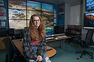 Rutgers student Taylor Dodge, who will be embarking on a journey to Antarctica to conduct research projects gathering data on the effects of climate change, chats about her trip Tuesday, December 12, 2017 in the Center of Ocean Observing Leadership at the Rutgers University-New Brunswick's Department of Marine and Coastal Sciences building in New Brunswick, New Jersey. (WILLIAM THOMAS CAIN / For The Philadelphia Inquirer)
