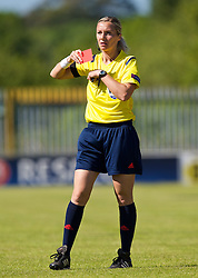 HAVERFORDWEST, WALES - Saturday, June 14, 2014: Polish referee Monika Mularczyk shows a red card to Turkey's Didem Karagnec [not shown] during the FIFA Women's World Cup Canada 2015 Qualifying Group 6 match at the Bridge Meadow Stadium. (Pic by David Rawcliffe/Propaganda)