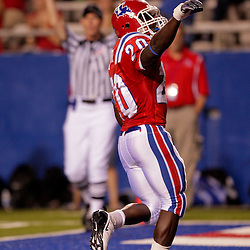 Sep 30, 2009; Ruston, LA, USA; Louisiana Tech Bulldogs running back Daniel Porter (20) celebrates after running for a first quarter touchdown against the Hawaii Warriors at Joe Aillet Stadium. Mandatory Credit: Derick E. Hingle-US PRESSWIRE