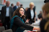 DEU, Deutschland, Germany, Berlin, 27.09.2017: Die heute zur Vorsitzenden der SPD-Bundestagsfraktion gewählte Andrea Nahles vor der Fraktionssitzung der SPD im Deutschen Bundestag.