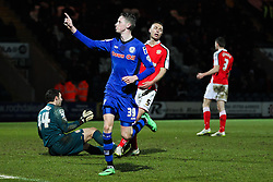 Rochdale's Joe Bunney celebrates after scoring his sides fourth goal, 4-0 - Photo mandatory by-line: Matt McNulty/JMP - Mobile: 07966 386802 - 03/03/2015 - SPORT - football - Rochdale - Spotland Stadium - Rochdale v Crewe Alexandra - Sky Bet League One
